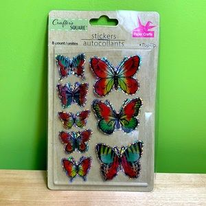 Butterfly NWT sparkly pop up stickers 9 count